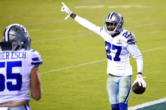 Dallas Cowboys' Trevon Diggs (27) celebrates after intercepting a pass by Philadelphia Eagles' Carson Wentz during the first half of an NFL football game, Sunday, Nov. 1, 2020, in Philadelphia. (AP Photo/Derik Hamilton)