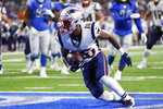 New England Patriots receiver Jakobi Meyers (16) pulls in a 5-yard pass for a touchdown during the first half of the team's preseason NFL football game against the Detroit Lions, Thursday, Aug. 8, 2019, in Detroit. (AP Photo/Rick Osentoski)