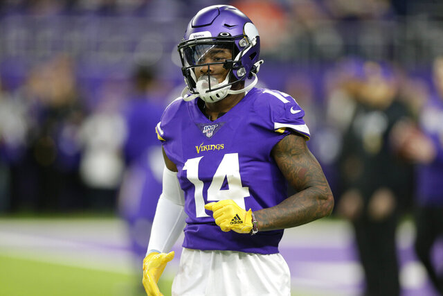 FILE - In this Sunday, Dec. 29, 2019 file photo, Minnesota Vikings wide receiver Stefon Diggs runs on the field before an NFL football game against the Chicago Bears in Minneapolis. Stefon Diggs is getting his new beginning with the Buffalo Bills, and he isn't dwelling on his acrimonious departure from the Minnesota Vikings. (AP Photo/Andy Clayton-King, File)