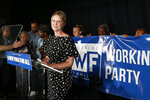 Gubernatorial candidate Cynthia Nixon delivers her concession speech at the Working Families Party primary night party, Thursday, Sept. 13, 2018, in New York. New York Gov. Andrew Cuomo easily beat Nixon in Thursday's contest to win his party's nomination for a third term. (AP Photo/Jason DeCrow)