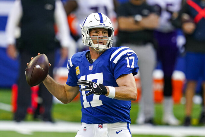 Indianapolis Colts quarterback Philip Rivers (17) throws against the Baltimore Ravens in the first half of an NFL football game in Indianapolis, Sunday, Nov. 8, 2020. (AP Photo/Darron Cummings)
