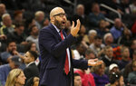 New York Knicks Head coach David Fizdale argues a call during the second half of an NBA basketball game against the Milwaukee Bucks, Monday, Dec. 2, 2019, in Milwaukee. (AP Photo/Jeffrey Phelps)