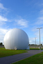 A Kevlar dome at the Kester Satellite Ground Station in Kester, Belgium, Thursday, Oct. 15, 2020. This week, the site at Kester, which has been in use for decades but was totally overhauled in 2014, is set to fall under a new orbit, when NATO announces that it is creating a space center to help manage satellite communications and key parts of its military operations around the world. (AP Photo/Lorne Cook)
