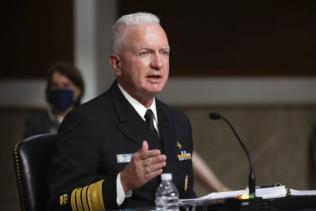 Adm. Brett Giroir, assistant secretary of Health and Human Services, testifies during a Senate Senate Health, Education, Labor, and Pensions Committee Hearing on the federal government response to COVID-19 on Capitol Hill Wednesday, Sept. 23, 2020, in Washington. (Graeme Jennings/Pool via AP)