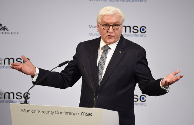 German President Frank-Walter Steinmeier speaks at the opening session on the first day of the Munich Security Conference in Munich, Germany, Friday, Feb. 14, 2020. (AP Photo/Jens Meyer)b