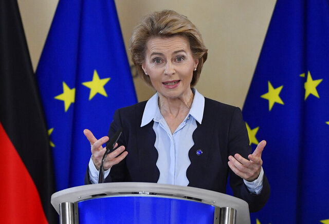 FILE - In this Thursday, July 2, 2020 file photo, President of the European Commission Ursula von der Leyen addresses a press conference at EU Headquarters in Brussels. The European Union's executive arm expressed regrets on Monday, July 6, 2020 after its top official threw her support behind the ruling conservative party in Croatia's parliamentary elections. President of the European Commission Ursula von der Leyen appeared with other center-right politicians in a promotional video clip posted by the Croatian Democratic Union (HDZ) ahead of Sunday's vote, in breach of political neutrality guidelines for commission officials. (John Thys, Pool Photo via AP, File)