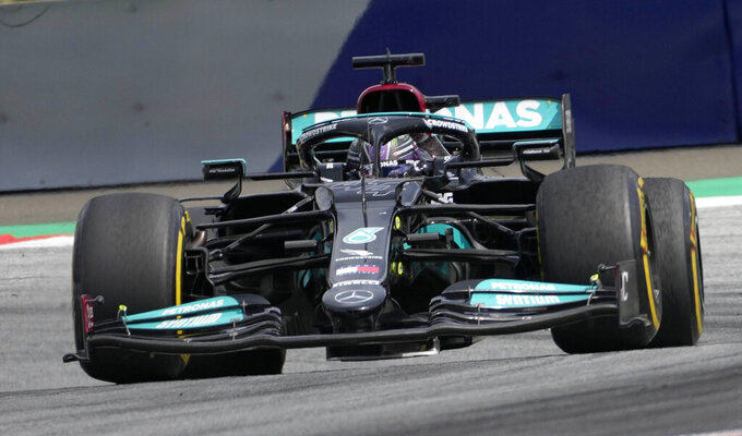 Mercedes driver Lewis Hamilton of Britain steers his car during the Styrian Formula One Grand Prix at the Red Bull Ring racetrack in Spielberg, Austria, Sunday, June 27, 2021. (AP Photo/Darko Vojinovic)