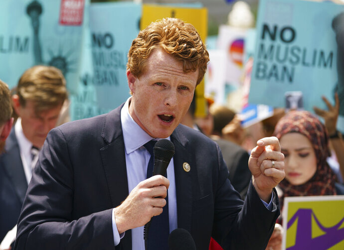 FILE - In this June 26, 2018, file photo, Rep. Joe Kennedy, D-Mass., speaks in front of the Supreme Court in Washington.(AP Photo/Carolyn Kaster, File)