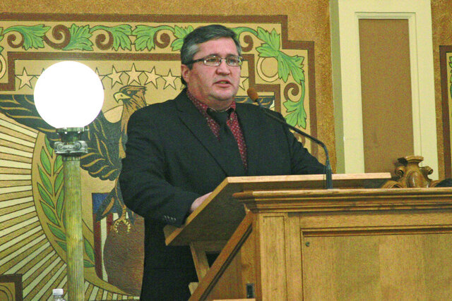 Crow Creek Sioux Chairman Lester Thompson delivers the State of the Tribes address Thursday, Jan. 16, 2020 at the state Capitol in Pierre, S.D. (AP Photo/Stephen Groves)