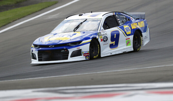 Chase Elliott drives during practice for the NASCAR Cup Series auto race at Watkins Glen International, Saturday, Aug. 3, 2019, in Watkins Glen, N.Y. (AP Photo/John Munson)