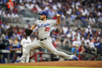 Los Angeles Dodgers starting pitcher Clayton Kershaw delivers in the first inning of a baseball game against the Atlanta Braves, Saturday, June 5, 2021, in Atlanta. (AP Photo/Brynn Anderson)