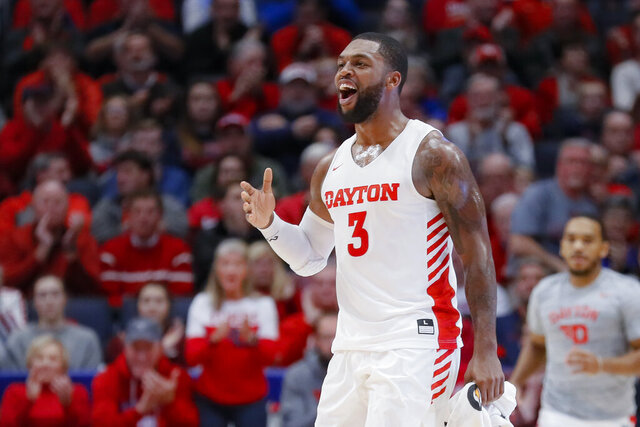 Dayton's Trey Landers (3) reacts during the first half of an NCAA college basketball game against North Texas, Tuesday, Dec. 17, 2019, in Dayton, Ohio. (AP Photo/John Minchillo)