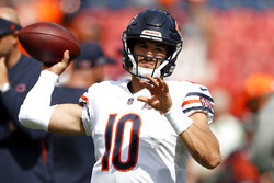 Chicago Bears quarterback Mitchell Trubisky (10) warms up prior to an NFL football game against the Denver Broncos, Sunday, Sept. 15, 2019, in Denver. (AP Photo/David Zalubowski)