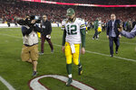 Green Bay Packers quarterback Aaron Rodgers leaves the field after their loss against the San Francisco 49ers in the NFL NFC Championship football game Sunday, Jan. 19, 2020, in Santa Clara, Calif. The 49ers won 37-20 to advance to Super Bowl 54 against the Kansas City Chiefs. (AP Photo/Matt York)