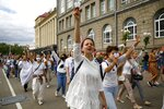 About 200 women march in solidarity with protesters injured in the latest rallies against the results of the country's presidential election in Minsk, Belarus, Wednesday, Aug. 12, 2020. Belarus officials say police detained over 1,000 people during the latest protests against the results of the country's presidential election. (AP Photo)