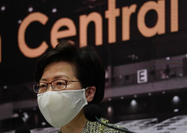 Hong Kong Chief Executive Carrie Lam listens to reporters' questions during a press conference in Hong Kong, Friday, Aug. 7, 2020. The semi-autonomous city of Hong Kong reports 95 new cases and three additional fatalities reported. The city of 7.5 million people has restricted indoor dining and require faces masks to be worn in all public places. (AP Photo/Vincent Yu)