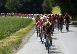 The pack rides during the first stage of the Tour de France cycling race over 194.5 kilometers (120,86 miles) with start in Brussels and finish in Brussels, Saturday, July 6, 2019. (AP Photo/Thibault Camus)