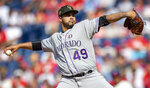 Colorado Rockies starting pitcher Antonio Senzatela throws during the first inning of a baseball game against the Philadelphia Phillies, Saturday, May 18, 2019, in Philadelphia. (AP Photo/Laurence Kesterson)