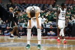 Hawaii forward Jack Purchase reacts to the team's loss to Long Beach State during an NCAA college basketball game at the Big West men's tournament in Anaheim, Calif., Thursday, March 14, 2019. Long Beach won 68-66. (AP Photo/Chris Carlson)