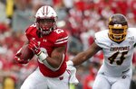Wisconsin's Jonathan Taylor runs during the first half of an NCAA college football game against Central Michigan Saturday, Sept. 7, 2019, in Madison, Wis. (AP Photo/Morry Gash)