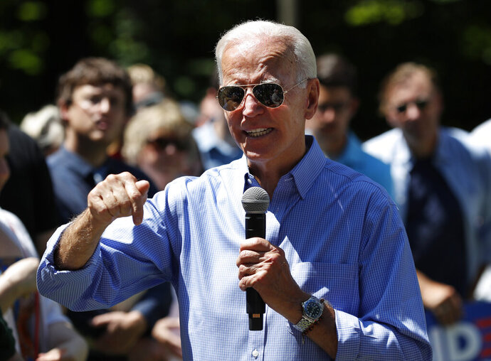 Former Vice President and Democratic presidential candidate Joe Biden, speaks at a house party campaign stop, Saturday, July 13, 2019, in Atkinson, N.H. (AP Photo/Robert F. Bukaty)