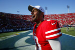 San Francisco 49ers quarterback Jimmy Garoppolo (10) celebrates after a 20-7 win over the Los Angeles Rams during an NFL football game Sunday, Oct. 13, 2019, in Los Angeles. (AP Photo/John Locher)