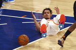 Atlanta Hawks' Trae Young (11) reacts after he was knocked down in the first quarter against the New York Knicks in Game 2 in an NBA basketball first-round playoff series Wednesday, May 26, 2021, in New York. (Elsa/Pool Photo via AP)