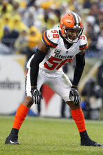 FILE - In this Oct. 28, 2018, file photo, Cleveland Browns outside linebacker Christian Kirksey is shown during an NFL football game against the Pittsburgh Steelers, in Pittsburgh. The Cleveland Browns could be missing several starters Sunday night when they face the defending NFC champion Los Angeles Rams. Tight end David Njoku (wrist), linebacker Christian Kirksey (chest), right tackle Chris Hubbard (foot) and safeties Damarious Randall (concussion) and Morgan Burnett (leg) missed practice Thursday, Sept. 19, 2019. (AP PhotoWinslow Townson, File)