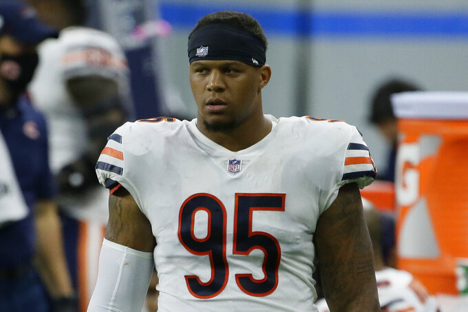FILE - In this Sept. 13, 2020, file photo, Chicago Bears defensive end Roy Robertson-Harris looks on during the second half of an NFL football game against the Detroit Lions in Detroit. A person familiar with the negotiations says the Jacksonville Jaguars and former Bears defensive lineman Robertson-Harris have agreed on a three-year, $24.4 million deal that includes $14 million guaranteed. (AP Photo/Duane Burleson, File)