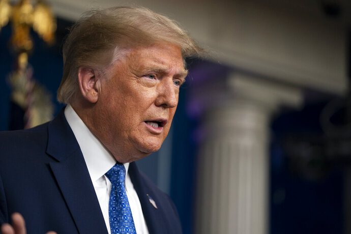 President Donald Trump speaks during a news conference at the White House, Wednesday, July 22, 2020, in Washington. (AP Photo/Evan Vucci)