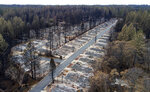 FILE-In this Monday, Dec. 3, 2018, homes are seen leveled by the Camp Fire line the Ridgewood Mobile Home Park retirement community in Paradise, Calif. Northern California authorities have arrested a woman they say scammed $63,100 from a 75-year-old who lost a home in the wildfire in 2018. The Butte County Sheriff's Office announced Tuesday, Nov. 5, 2019, the arrest of 29-year-old Brenda Rose Asbury for elder abuse, embezzlement and grand theft. (AP Photo/Noah Berger)
