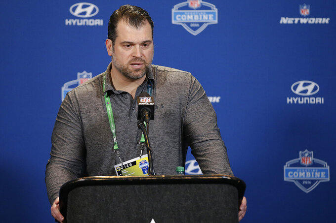 FILE - In this Feb. 25, 2016, file photo, then-Indianapolis Colts general manager Ryan Grigson responds to a question during a news conference at the NFL football scouting combine in Indianapolis. Former Colts general manager Ryan Grigson has been named a senior advisor for the Cleveland Browns, reuniting with vice president of football operations Andrew Berry, who has filled out his front office. (AP Photo/Darron Cummings, File)