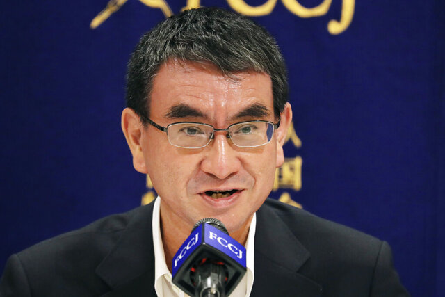Japanese Defense Minister Taro Kono speaks during a press conference in Tokyo, Thursday, June 25, 2020. Japan's National Security Council has endorsed plans to cancel the deployment of two costly land-based U.S. missile defense systems aimed at bolstering the country's capability against threats from North Korea, Kono said Thursday. (AP Photo/Koji Sasahara)