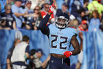 Tennessee Titans running back Derrick Henry celebrates after scoring a touchdown on a 68-yard run against the Kansas City Chiefs in the second half of an NFL football game Sunday, Nov. 10, 2019, in Nashville, Tenn. (AP Photo/James Kenney)