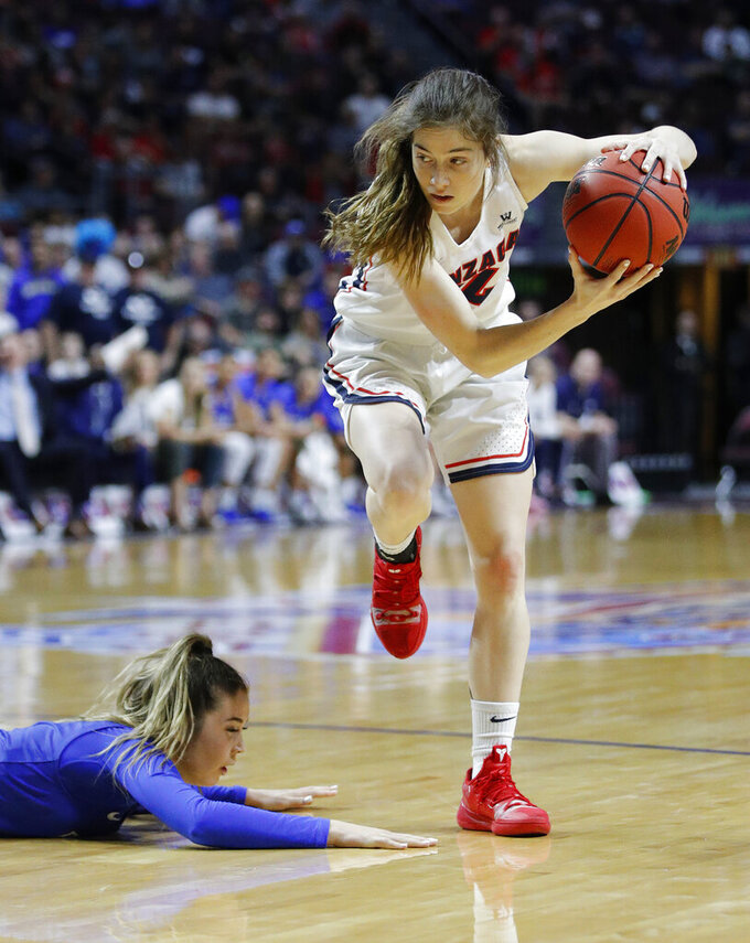 Gonzaga's Katie Campbell grabs the ball near BYU's Shaylee Gonzales during the first half of an NCAA women's final college basketball game at the West Coast Conference tournament, Tuesday, March 12, 2019, in Las Vegas. (AP Photo/John Locher)