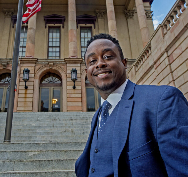 Lance Greene, one of Lancaster County Pa.'s first Black assistant district attorneys, stands in front of the Lancaster County Courthouse Wednesday, Oct. 7, 2020. (Blaine Shahan/LNP Media Group Lancaster online via AP)