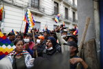 Supporters of Bolivia's former President Evo Morales, with