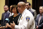 Michael Harrison, acting commissioner of the Baltimore Police Department, speaks at an introductory news conference, Monday, Feb. 11, 2019, in Baltimore. Harrison, the former Superintendent of the New Orleans Police Department, started Monday as acting leader weeks before the city council is expected to vote on his nomination as permanent police commissioner. (AP Photo/Patrick Semansky)