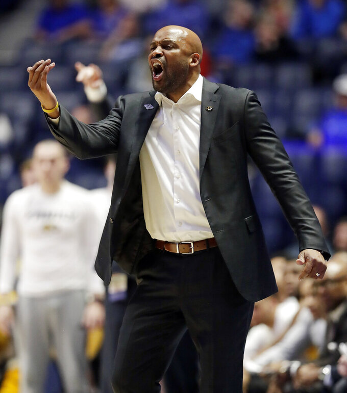 Missouri head coach Cuonzo Martin yells to his players in the second half of an NCAA college basketball game against Auburn at the Southeastern Conference tournament Thursday, March 14, 2019, in Nashville, Tenn. Auburn won 81-71. (AP Photo/Mark Humphrey)