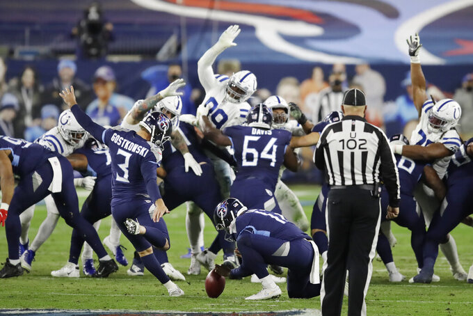 Tennessee Titans kicker Stephen Gostkowski (3) kicks a 50-yard field goal against the Indianapolis Colts in the first half of an NFL football game Thursday, Nov. 12, 2020, in Nashville, Tenn. (AP Photo/Ben Margot)