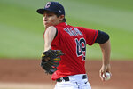 Cleveland Indians starting pitcher Eli Morgan (49) delivers in the first inning of a baseball game against the Houston Astros, July 3, 2021, in Cleveland. (AP Photo/David Dermer)