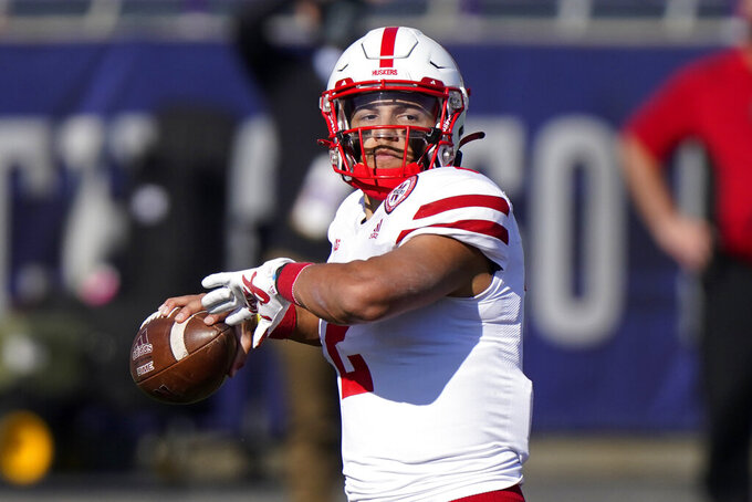 Nebraska quarterback Adrian Martinez throws a pass against Northwestern during the first half of an NCAA college football game in Evanston, Ill., Saturday, Nov. 7, 2020. (AP Photo/Nam Y. Huh)
