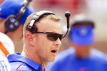 Boise State head coach Bryan Harsin watches in the first half of an NCAA college football game against Florida State in Tallahassee, Fla., Saturday, Aug. 31, 2019. (AP Photo/Mark Wallheiser)