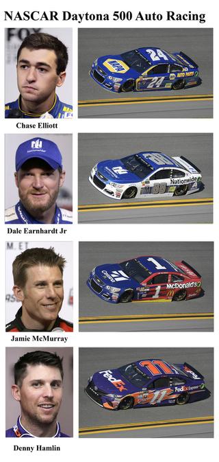 Chase Elliott, Dale Earnhardt Jr, Jamie McMurray, Denny Hamlin