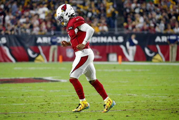 Arizona Cardinals quarterback Kyler Murray leaves the field after a a failed third down against the Pittsburgh Steelers during the first half of an NFL football game, Sunday, Dec. 8, 2019, in Glendale, Ariz. (AP Photo/Ross D. Franklin)