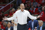 Utah head coach Larry Krystkowiak reacts to a call in the second half during an NCAA college basketball game against Colorado Saturday, March 7, 2020, in Salt Lake City. (AP Photo/Rick Bowmer)
