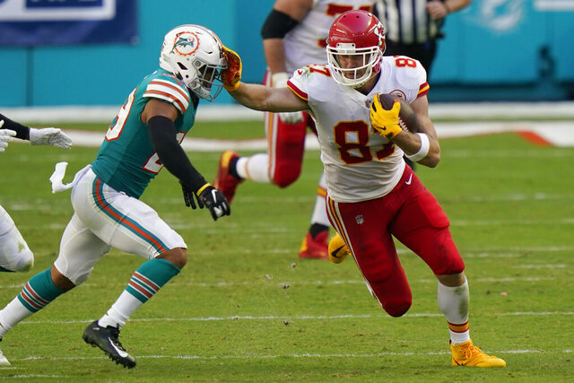Kansas City Chiefs tight end Travis Kelce (87) stops Miami Dolphins free safety Brandon Jones (29), during the first half of an NFL football game, Sunday, Dec. 13, 2020, in Miami Gardens, Fla. (AP Photo/Lynne Sladky)