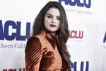 FILE - Selena Gomez attends the 2019 ACLU SoCal's Annual Bill of Rights Dinner in Beverly Hills, Calif. on Nov. 17, 2019. After an angry mob of President Donald Trump supporters took control of the U.S. Capitol in a violent insurrection, Gomez laid much of the blame at the feet of Big Tech. It's the latest effort by the 28-year-old actress-singer to draw attention to the danger of internet companies critics say have profited from misinformation and hate on their platforms. (Photo by Richard Shotwell/Invision/AP, File)