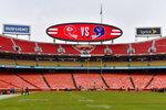 Arrowhead Stadium before an NFL divisional playoff football game between the Kansas City Chiefs and the Houston Texans, in Kansas City, Mo., Sunday, Jan. 12, 2020. (AP Photo/Ed Zurga)