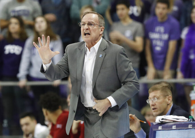Oklahoma head coach Lon Kruger yells from the sidelines during the first half of an NCAA college basketball game against TCU in Fort Worth, Texas, Saturday, Feb. 16, 2019. (AP Photo/LM Otero)